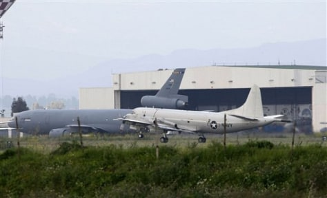 Image: U.S. Air Force and Navy airplanes at Sigonella NATO military base, Sicily, Italy.
