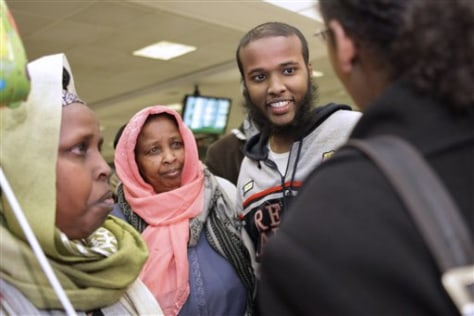 Image: Gulet Mohamed and his mother, Bella Ali, at Dulles International Airport