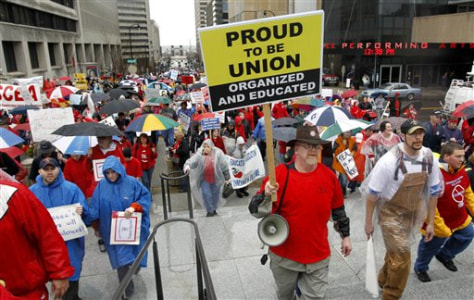 Image: Protesters demonstrate against legislative efforts to do away with teachers' collective bargaining rights in Nashville, Tenn.