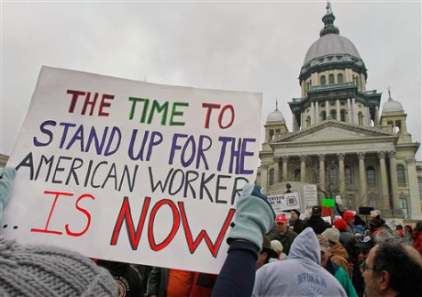 Image: Demonstrators rally in support of Wisconsin workers at the Illinois State Capitol in Springfield, Ill.