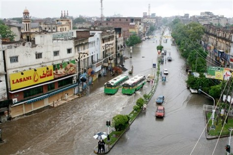 IMAGE: FLOODED STREET IN LAHORE