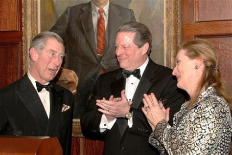 IMAGE: PRINCE CHARLES WITH AL GORE AND MERYL STREEP