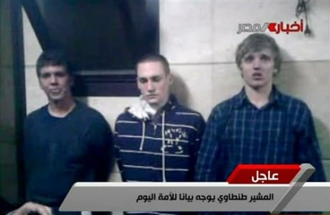 Image: Three American students are displayed to the camera by Egyptian authorities on Tuesday