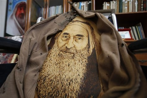 Image: A portrait of Hamas found and spiritual leader Sheik Ahmed Yassin