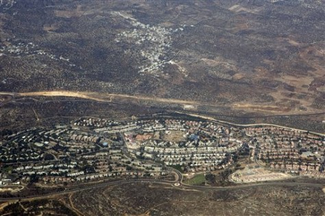 Image: Aerial photo, taken through the window of an airplane, of the West Bank Jewish settlement of Ariel