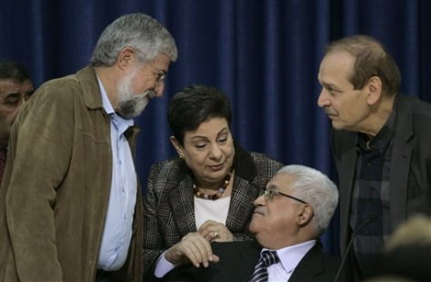 Image: From right, Yasser Abed-Rabbo, a top official of the Palestine Liberation Organization, Palestinian president Mahmoud Abbas, Hanan Ashrawi, a senior PLO member and Israeli former general and ex-Labor party leader Amram Mitzna