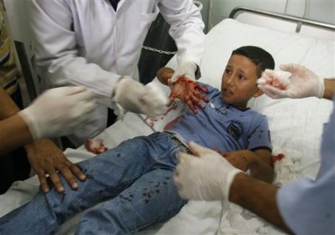 Image: Injured Palestinian schoolboy