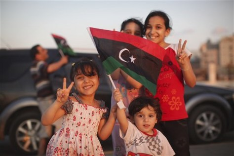 Children pose in Benghazi