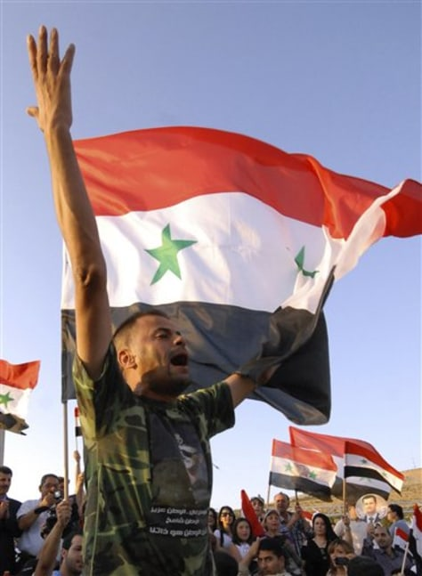 Image: An Assad supporter shouts slogans