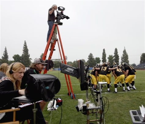 Image: Filming of a TV commercial at Birmingham High School in Los Angeles.