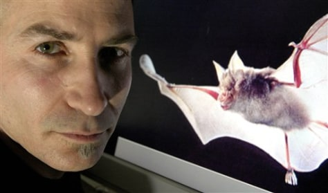 Researcher with bat