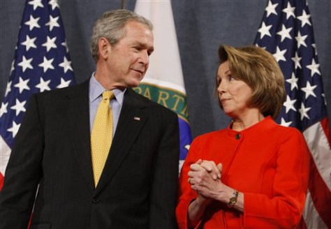 Image: Nancy Pelosi and President Bush