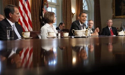 Image: Barack Obama, Nancy Pelosi, Harry Reid, Mitch McConnell, John Boehner