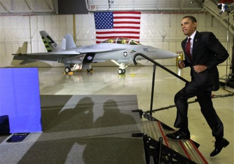 Image: President Obama and Green Hornet jet