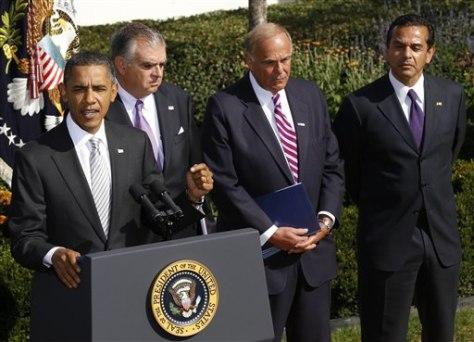Barack Obama, Ray LaHood, Ed Rendell, Antonio Villaraigosa