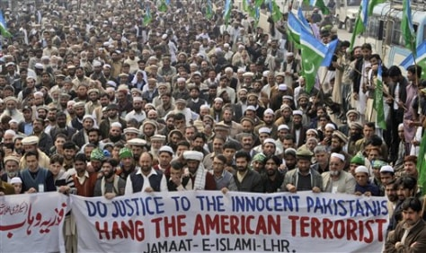 Image: Rally against detained American in Lahore, Pakistan