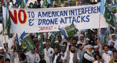 Image: Supporters of a Pakistani religious party Jamaat-e-Islami arrive to join a rally against the U.S. drone strikes in Pakistani tribal areas