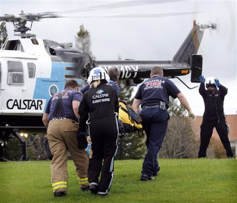 Image: Bomb blast victim taken to air ambulance