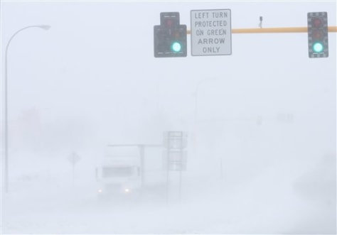 White-out conditions in Grand Forks