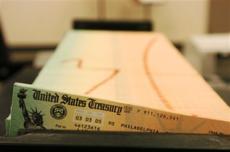 Image: Trays of printed Social Security checks