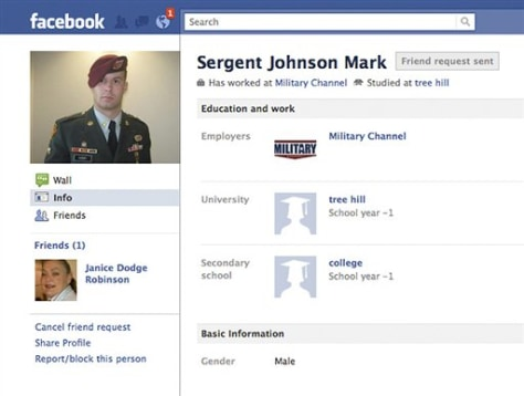 Image: Facebook page set up by impersonator