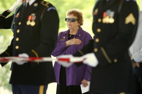 Image: Margaret Mensch at military funeral service