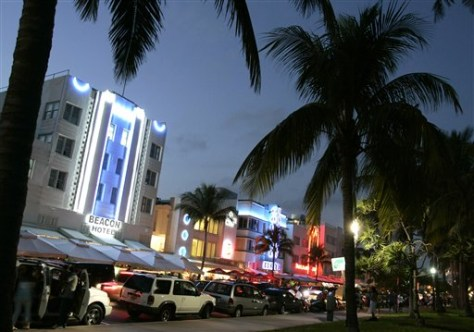 Image: Art deco hotels on Ocean Drive in Miami Beach, Fla.
