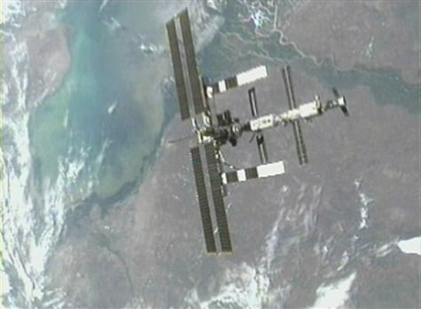 space shuttle's view of space station
