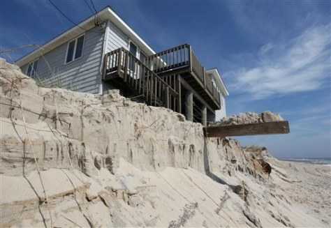 Image: House foundation exposed by eroding sand dune