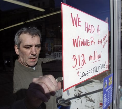 Image: Sign at store where winning lottery ticket was sold