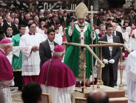 Image: Pope Benedict XVI stands on a mobile platform
