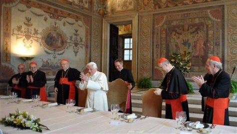 Image: Pope at lunch with cardinals