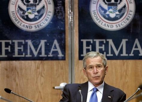 Image: President Bush at FEMA headquarters.