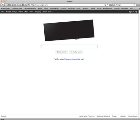 Image: Google's blacked-out name on search page