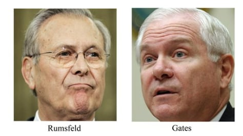 Donald Rumsfeld and Robert Gates