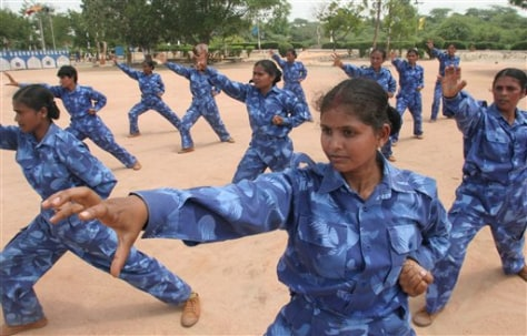 IMAGE: Indian policewomen