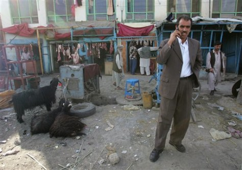 Image: Afghan talking on cell phone