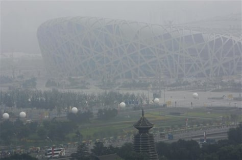 Image: Haze envelops China's National Stadium