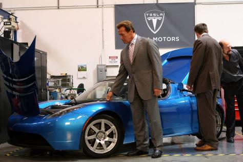 Image: Schwarzenegger Tours Tesla Motors