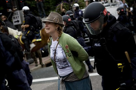Image: Protestor arrested outside the GOP convention