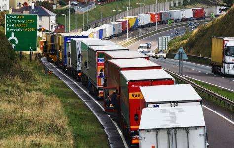 Image: Trucks waiting for ferry