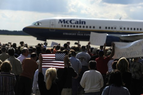 Image: John McCain's plane on airport runway