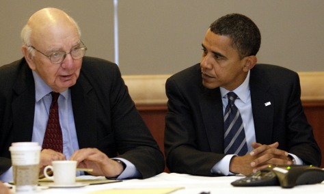 Image: Sen. Barack Obama, D-Ill., and Paul Volcker