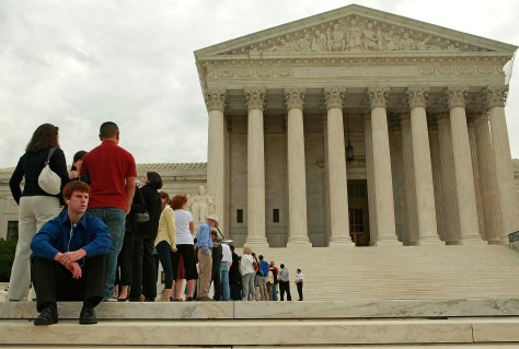 Image: People wait to get into Supreme Court.