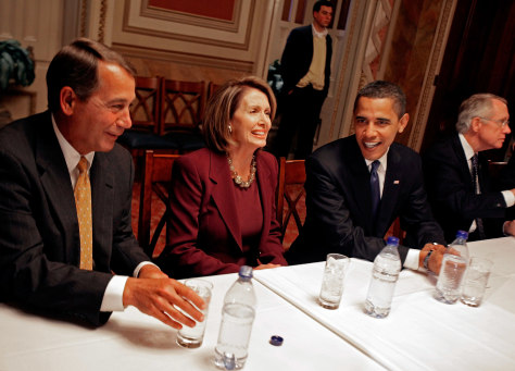 Image: John Boehner, Nancy Pelosi and Barack Obama