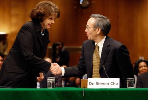 Image: Steven Chu, Sen. Diane Feinstein, D-Calif.
