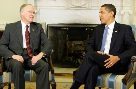 Image: Barack Obama, Vermont Gov. Jim Douglas