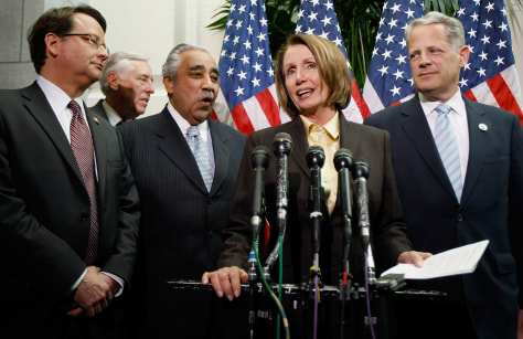 Image: Democratic Congressmembers Gary Peters, of Mich., Steny Hoyer of Md., Charles Rangel of N.Y., Nancy Pelosi of Calif., and Steve Israel of N.Y.