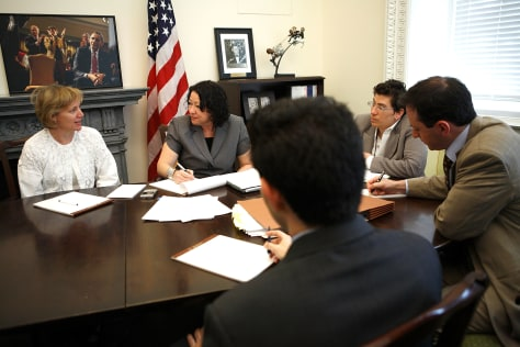 Image: Sonia Sotomayor meets with White House aids.