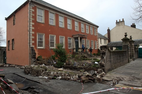 Image: Collapsed wall at Wordsworth House